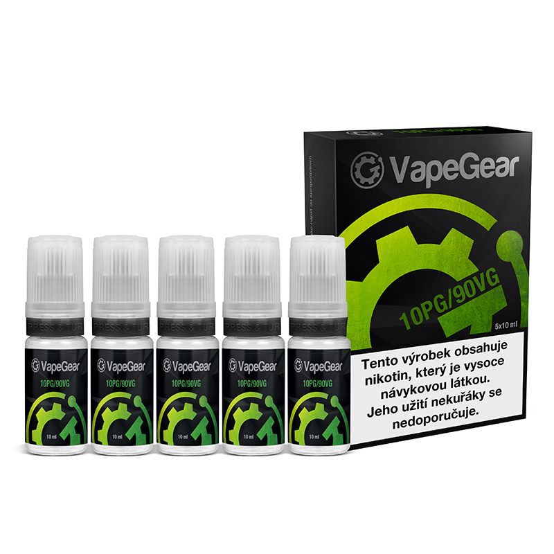 Nikotinová prémiová báze VapeGear - 10PG/90VG - 5x10ml