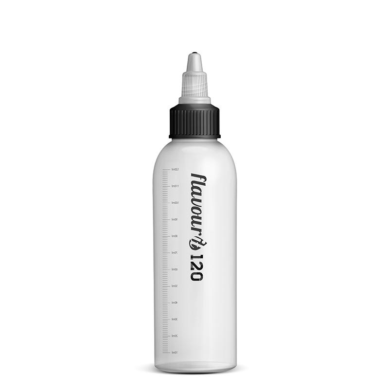 Prázdná lahvička Flavourit s twist uzávěrem a ryskou - 120ml